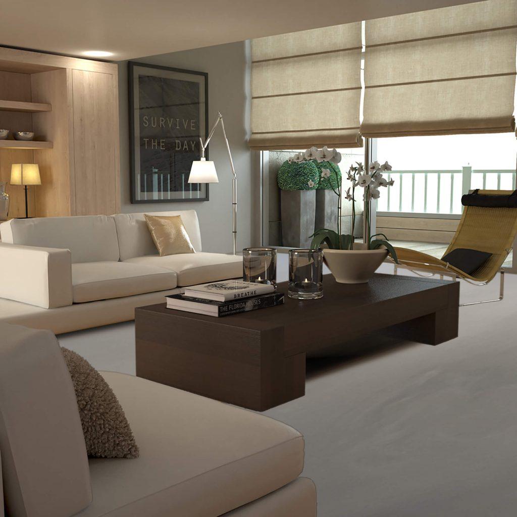 Betonlook vloer in een modern interieur